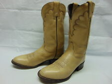 Womens 6 B Tony Lama Beige Leather Pull On Western Cowgirl Rodeo Riding Boots