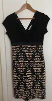 Ronni Nicole Black Brown Ruffle Pencil Dress Sleeveless V Neck Size 10