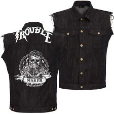 King Kerosin Jeans Weste Trouble Maker Rockabilly Used Mit Rückenprint 5030