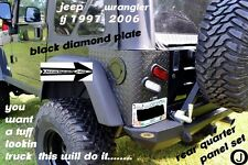 Jeep TJ Wrangler 2 PC Black Diamond Plate Rear Body Armor Corner Panel Kit