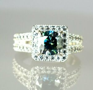 Earthmined Green Diamond Solitaire Halo 4.06 Ct Certified Ring Great Brilliance