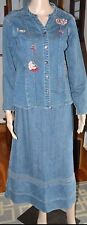 Blue Jean Denim Long A-Line 6P Skirt & Embroidered Small Top Blazer Jacket Suit