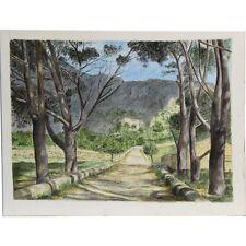 Senza Cornice metà del secolo Mediterraneo Villa Paesaggio dipinto ad Acquerello 23 x 31