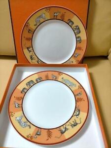 "Hermes Dessert Plate  Africa Orange Dish Tableware set Animal Porcelain Mint 9"""