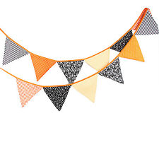 3.3M Halloween Party Handmade Vintage Cotton Fabric Flag Bunting  -12 flags