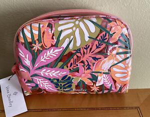 Vera Bradley Cosmetic Bag Rain Forest Canopy Coral Beach Pool Clear, NWT