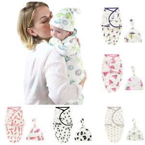 Cute 2PCS 0-6M Infant Baby Kid Cartoon Swaddle Blanket Sleeping Bag Wrap Hat Set