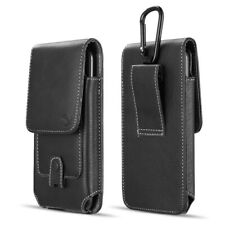 Black Leather Belt Clip Holster Pouch Vertical Phone Holder Luxmo With Clip