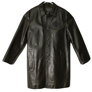 Banana Republic Mens Leather Button Up Coat