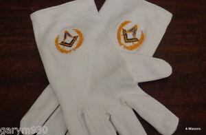 Masonic Freemason  white gloves  with  S&C design New Low Price only £6.50