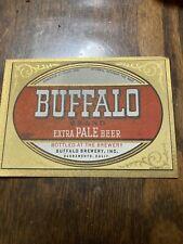 1949 Beer Label Buffalo Brand Sacramento Ca Gold Trim