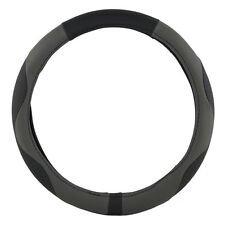 KM World Steering Wheel Cover Synthetic Gray/Black Leather Odorless Vibe S503