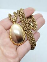 Vintage Givenchy Byzantine Chain & Large Faux Pearl Pendant Necklace