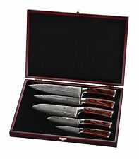 5er Damast Küchenmesser,6er Damastmesser Set,Kochmesser mit Holzxbox Wakoli Edib