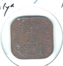 Malaya Straits Settlements 1 Cent 1941 i King George - High Grade BR
