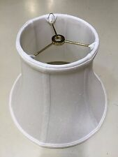 "10"" Bell Natural White Shantung Silk Lampshade Brass Washer Fabric Shade ."