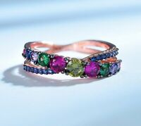 Luxus Bunte Stein Smaragd Citrin Rubin Echt Silber 925 Ring Damenring Silberring