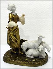 """Georges OMERTH, Bronze et albatre, """"La bergère aux moutons"""""""