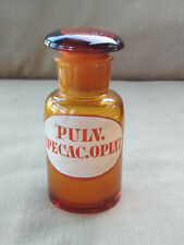 1930's OPIUM DRUG Bottle ☠ PULV.IPECAC. OPIAT glass apothecary jar pharmacy