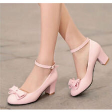 Women's Lolita Pumps Sweet Bow Low Chunky Cuban Heel Ankle Straps Shoes Size