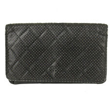 Chanel Authentic Black Quilted Perforated Leather Long Bifold Wallet MSRP: $1500