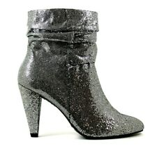 New Look Womens UK 6 Wide Fit Silver Glitter Cone Heeled Zip Up Ankle Boots EU39