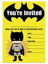 Batman Theme Birthday Party Invitations Superhero Invites Children Boys Kids