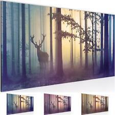Wandbild XXL Modern Wohnzimmer - Wald Hirsch Blau - Schlafzimmer Abstrakt Bilder