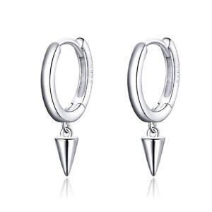 Geometric Simple Drop Fashionable Hoop Earrings Genuine Sterling Silver 925