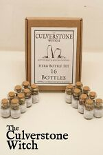 Herb Bottles Box Set of 16 - Witch Wicca Pagan Witchcraft Charm Spells Ritual
