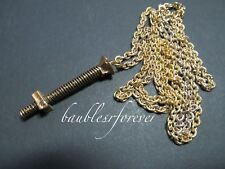 Vintage New Old Stock Gold Tone Nut & Bolt Whatnot Pendant