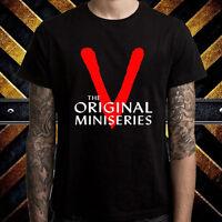 V The Original TV Mini Series Logo Men's Black T-Shirt Size S to 3XL