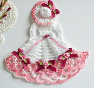 Summer Crinoline Lady Hand Crochet Doily / White & Variegated Pink / Flowers