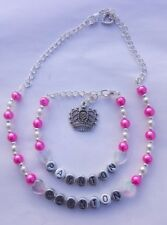 Girls personalised necklace and bracelet gift set - any name, colour and charm!