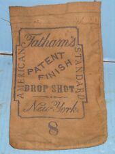 Neat Orig. Us Civil War Era Tatham'S Ny American Drop Shot #8 Canvas Bag