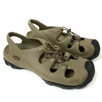 CROCS Trail break Tan Black Cinch Laces Water Shoes Sandals Fishing Mens 12