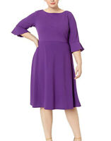 Donna Morgan Plus Size Midi-Length Fit and Flare Crepe Purple Dress 18W NWT