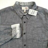 Nordstrom 1901 Adult Size XL Button Front Long Sleeve Linen Dress Shirt Gray