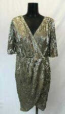 TFNC Gina Venezia Two Toned Sequin Surplice Wrap Dress CB8 Gold/Silver US:10 NWT