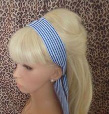 NAUTICAL ROYAL BLUE WHITE STRIPE HEAD HAIR BAND SELF TIE BOW SAILOR GIRL RETRO