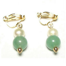White Pearl & Natural Green Jade 18K Gold Plated Clip on Earrings