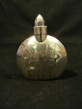 UNUSUAL ANTIQUE STERLING SILVER SCENT / PERFUME BOTTLE with ENGRAVED DESIGN
