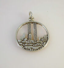 .925 Sterling Silver TWIN TOWERS CHARM  Round NEW Pendant New York City 925 TR08