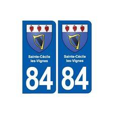 84 Sainte-Cécile-les-Vignes blason autocollant plaque stickers ville arrondis