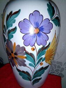 Vintage Gouda Viola Flora 1493 Holland A Large Balluster Vase Hand painted 27cm