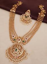 Bollywood Ad CZ Handmade Jewelry Kundan Long Chain Necklace Statement Bridal Set