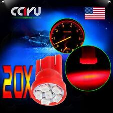 20X Red 3020 6SMD LED T10 W5W 194 168 921 Instrument Gauge Light Bulbs For Honda