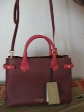 Authentic Burberry Banner Leather Tote Bag Burgundy