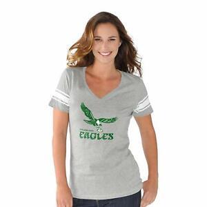G-III 4her Philadelphia Eagles Women's Throwback Ballpark V-Neck T-Shirt - Gray