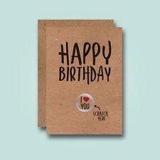 Scratch Here - Funny Birthday Card - Love Girlfriend Boyfriend Husband Wife Cute